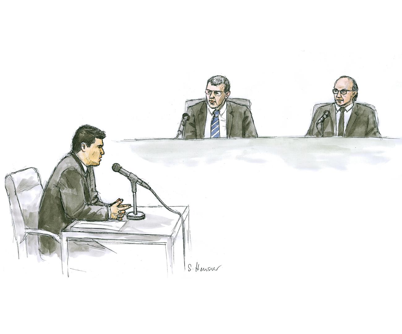 Angeklagter vor den Richtern