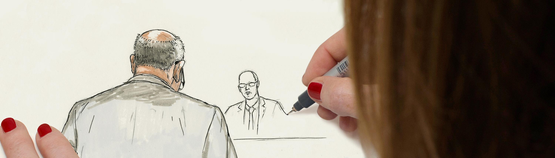 Entstehung einer Figur bei einer Gerichtszeichnung.